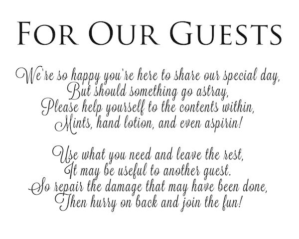 bathroom poem for wedding