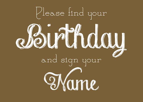 calendar sign for birthdays for wedding