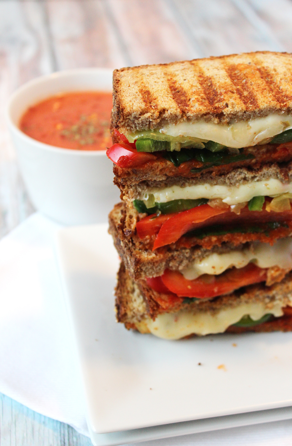 hot panini and tomato soup
