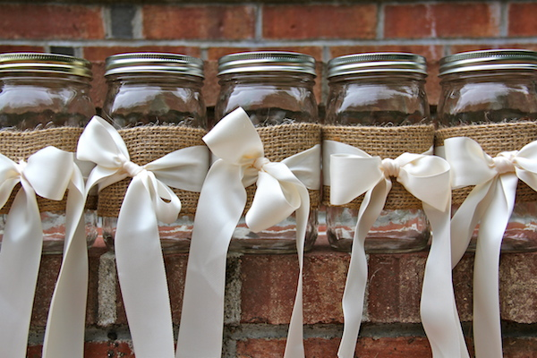 DIY mason jars for center pieces at wedding