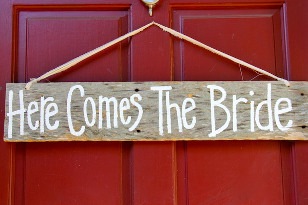 here comes the bride sign for wedding