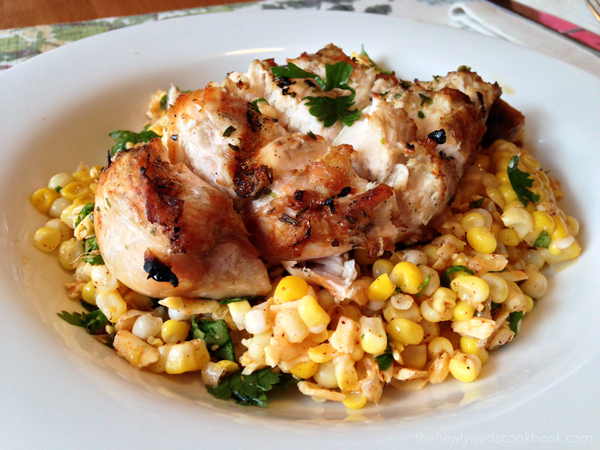 zesty corn salad with grilled chicken