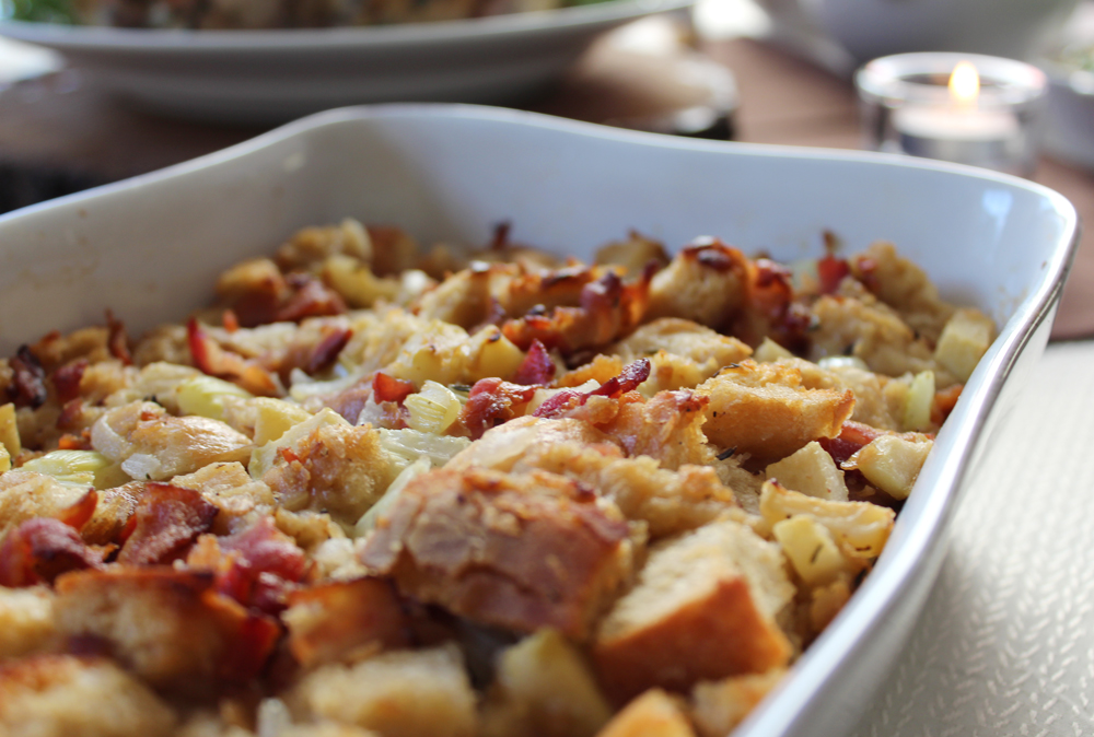 homemade bacon and apple stuffing