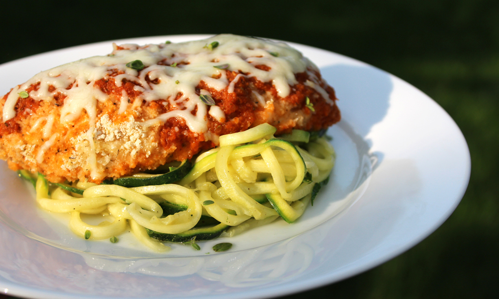 Healthy Chicken Parmesan with Zucchini Pasta