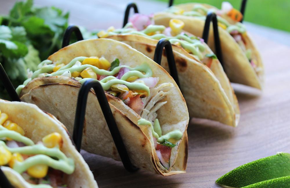 Roasted Corn and Avocado Cream Tacos